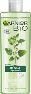 Garnier Bio – Eau Micellaire Bio Rééquilibrante et apaisante – eau de Mélisse rééquilibrante – glycérine végétale – Eau d'Orge – COSMOS ORGANIC par Ecocert – peaux mixtes à grasses, sensibles – 400ML