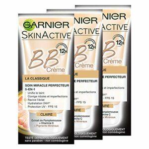 Garnier Skin Active BB Crème La Classique Claire – Soin Miracle perfecteur 5-en-1 – Lot de 3