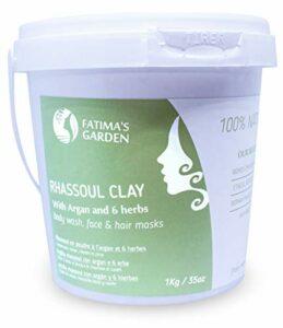 Ghassoul Argile 100% naturel aux herbes – Rhassoul Marocain pour visage, cheveux et Hammam par Fatima's Garden -Adoucissant, Purifiant pour la peau ; Végan sans cruauté-1kg
