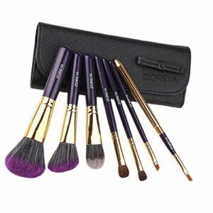 Harilla Lots 7 Pinceaux de Maquillage Portables de Voyage Pinceau à Cils à Sourcils En Poudre Libre pour Le Visage – Noir