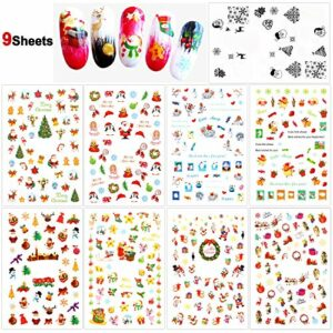 HOWAF Noël Autocollants pour Ongles, Noël père Noël Renne Flocon de Neige de 3D Nail Art Autocollants Nail Sticker Ongles Manucure Accessories Noël Nail Décoration,9 Feuilles