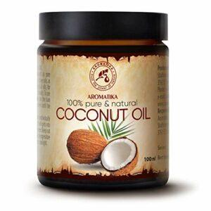 Huile Coco 100ml – Indonésie – Pressée à Froid – 100% Pur & Naturelle – NON Raffiné – Huile de Base – Riche & Minéraux – Visage Soins – Corps – Mains – Lèvres – Cheveux – Pure Coconut Oil