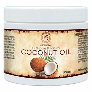 Huile Noix de Coco 500ml – Cocos Nucifera – Indonésie – Pressée à Froid – 100% Pur & Naturel – Meilleurs Avantages pour la Peau – Cheveux – Visage