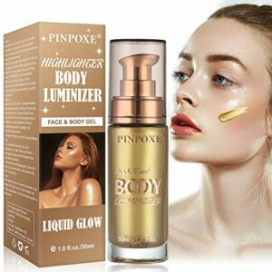 Illuminateur Maquillage, Highlighter Liquide Fond de Teint Visage, Make Up Highlighter, Faciales Illuminez Ultra Smooth Maquillage Surligneur – Illuminateur de visage, pommette, zone T, pont du nez