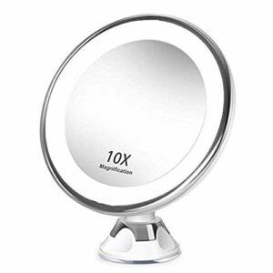 JANEFLY 10 Fois avec Le Maquillage Ventouse Miroir 5X10X Loupe Fill Miroir de Maquillage Lumière LED avec Un Grand Miroir Miroir Salle de Bains