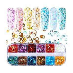 JIANDONG 12 Grille/Set Holographic Ongles Glitter Paillettes Sparkly Flakes Papillon Mince 3D Polonaise Décor (Color : 12 Grids QQ)