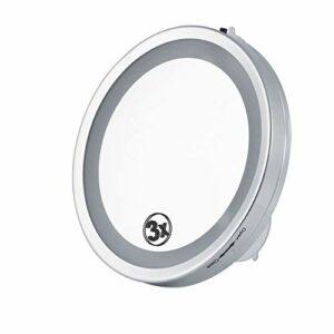 JJZHY 3X Miroir De Maquillage Éclairé Et Grossi Miroir De Vanité Mural De 6 Po avec Del Simple Face À Grossissement avec Ventouse Miroir De Maquillage pour Salle De Bain,comme montré,Taille Unique