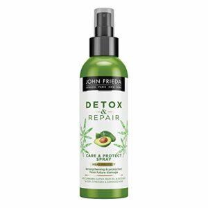 John Frieda Détox & Repair Care & Heat Protect Spray pour cheveux secs, tendus et abîmés à l'huile d'avocat et thé vert, 200 ml