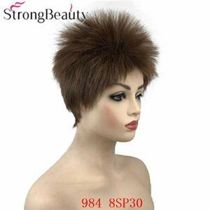 JPDP Forte Beauté Perruques Courtes Droites Synthétique Femmes Perruque Mélange Couleur Résistant À La Chaleur Cheveux 6 pouces 984 8SP30