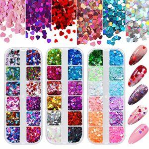 Kalolary 3 Boîtes Paillettes à Ongles Holographique, 3D Cœur Holographiques Paillettes Laser Nail Art Sequins Mixed Color Glitter pour la Saint Valentin Nail Art Décoration Maquillage
