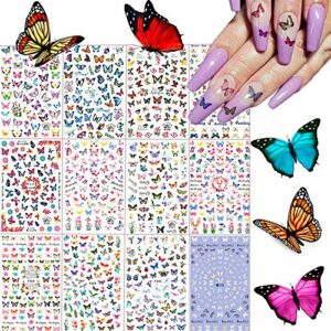 Kalolary 840+ Papillon Nail Art Stickers, Autocollants à Ongles decoration nail art Ongle Autocollants Auto-adhésives DIY Nail Décoration pour Femmes Filles