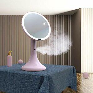 Kaper Go Spray Hydratant LED Maquillage Miroir Intelligent Corps Humain Lampe Miroir Miroir Beauté Miroir Hydratant ABS Matériel Rose Section Section Bleue (Color : Pink)