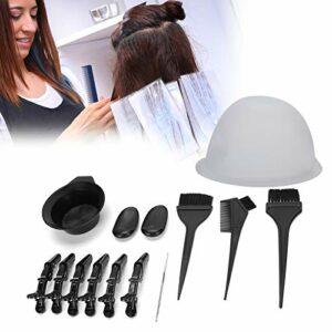 Kit de teinture pour cheveux de salon professionnel, peigne de teinture pour cheveux bol de teinture pour brosse, points culminants Kit d'outils de teinture pour les familles et les professionnels