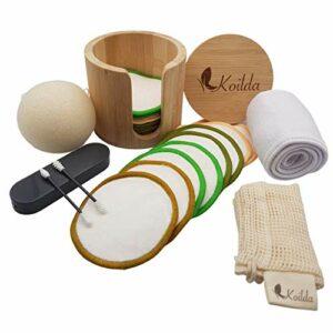 KOILDA set de démaquillage,16 cotons démaquillant reutilisable et lavable coton et fibre de bambou,1 pot bambou,1 filet de lavage,1 éponge konjac,1 bandeau cheveux,2 cotons tiges lavable embout fixe*.