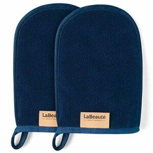 LaBeauté gant de toilette démaquillant (2 pièces) – Démaquillant et nettoyant visage – Lingettes démaquillantes lavables et réutilisables (20 x 13 cm cm, bleu marine)