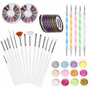 LABOTA 33 Pièces Nail Art Kit – 15 Peinture Brosse à Pinceaux, 5 Stylos Dotting, 10 Striping Tape, 2 Boîte Ongles Strass, 12 Couleur Glitter pour Kit de Nail Art Décoration