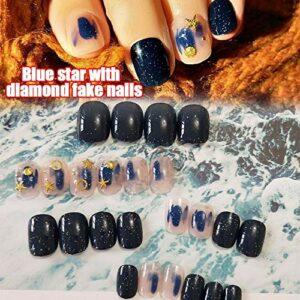 LANGMAN Faux ongles 24Pcs Imitation Faux Ongles Nail Art Soin Des Ongles 3D Faux Ongles Bleu Étoile Ciel Diamondnew Mode Femmes Fille Dames
