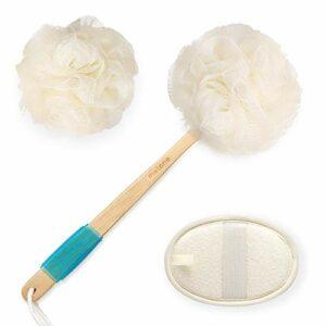 Loofah Brosse de bain 3 en 1 pour le corps avec brosse de douche exfoliante à long manche courbé, boule de luffa et tampon en loofah pour le lavage du corps et le massage du spa.