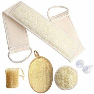 Loofah Lot de 4 éponges exfoliantes pour le dos en luffa naturel pour la douche et le bain