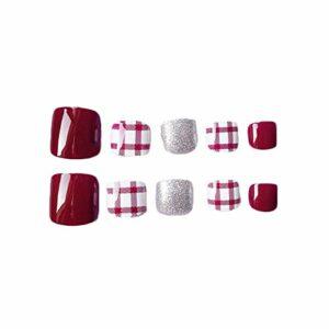 Lot de 24 faux ongles artificiels pour orteils rouge profond