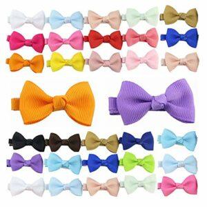 Lot de 30 mini nœuds à cheveux multicolores en ruban gros-grain avec pinces crocodiles pour bébés filles, nourrissons, enfants et chiens (couleur aléatoire)