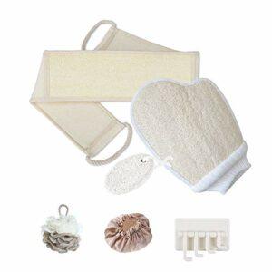 Lot de 6 éponges en loofah comprenant un gommage de bain, des gants de lufah exfoliants, une éponge de douche et une lime à pieds pour homme et femme (beige)