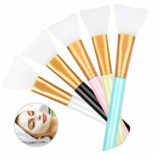 LOUTOC Lot de 5 pinceaux pour masque facial en silicone pour masque facial Lotion pour le corps Outils de beauté applicateur de masque de boue pour le visage