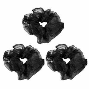 Lurrose 3 Pcs Cheveux Chouchous Organza Anneaux De Cheveux Chouchous Élastiques Cheveux Bobbles Pour Femmes Enfants D'été Salle De Bains Spa Sport