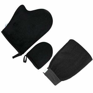 Minkissy Gant Applicateur de Lotion Exfoliant Gant Autobronzant avec Gant Visage Outils de Bronzage sans Soleil pour Maquillage Huile de Beauté Spa Noir