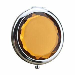 Miroir de Maquillage de Cristal métallique Pliant Double Miroir Movoo (Color : Orange)