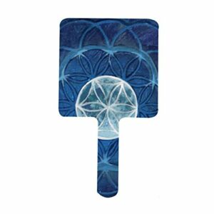 Miroir de méditation carré avec motif fleur de vie et mandala – Pour la maison, le salon de beauté dentaire, le voyage