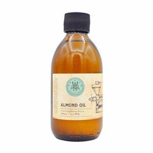 MNA Huile d'Amande Douce 250 ml – Hydratant naturel et sans parfum pour cheveux, peau, mains – Pure, Naturelle, Végan, en Bouteilles de Verre Réutilisables