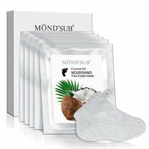 [MOND'SUB] saine huile de coco hydratante pieds Masque pour la peau sèche | Masque hydratant Baby Foot avec Essence organique et crème pour talons fendillés (5 paires)