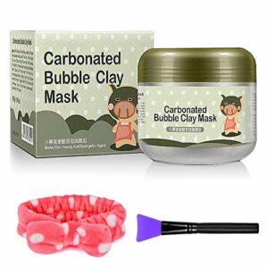 MS.DEAR Kit de Msque pour le Visage à Bulles, Masque d'argile à Bulles Carbonaté -3.52 oz. 100% Naturel, Bonus avec Brosse et Bande de Cheveux