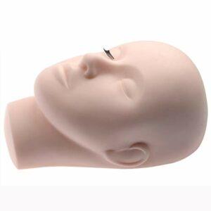 Mydio Pro Mannequin d'entraînement à tête plate en caoutchouc pour mannequin, cosmétologie, maquillage visage, cils