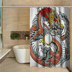NA Rideau de Douche Dragon créature Chinoise Traditionnelle Tenant Une Grande Perle Signes du Zodiaque Folk Tatouage Graphique Multicolore
