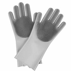 NELNISSA Gants de Silicone Magique Brosse de Gommage réutilisable Gant de Lavage de Gants Gants de Nettoyage pour Cuisine/Salle de Bain/Voiture/Soin des Cheveux  (Gris)