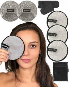 Ogato Lot avec 2 Disques Démaquillants Réutilisables Extra Larges (12 cm) etDouble Face – Trousse de Toilette et Bandeau