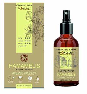 Organic Farm Hydrolat Brume Hydratante Eau Florale Organique de Hamamélis 250 ml Flacon en Verre Spray, Soin et Cuisine