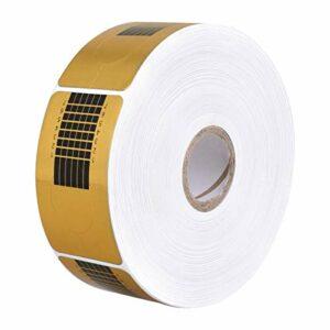 Ozuar Lot de 500 rouleaux de papier autocollant rectangulaires pour vernis à ongles, numérotés perforés pour extensions d'ongles en acrylique, gel UV, 10 x 10 x 3,5 cm – Doré