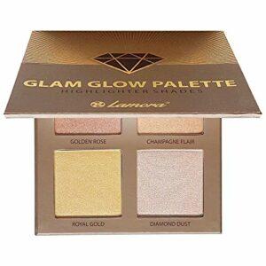 Palette Highlighter Maquillage Illuminateur Poudre Bronzer Kit – Avec Miroir Pour Peau Claire à Moyennement Foncée – 4 Couleurs Chatoyantes Hautement Pigmentées – Vegan, Hypoallergénique