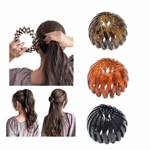 Pince à cheveux de nid d'oiseau 3pcs, nid d'oiseaux en forme de cheveux en forme de poils à la griffe de cheveux Crasser les makinières, clip de support de queue de cheval extensible pour femmes fille