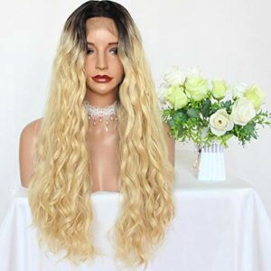 PlatinumHair # 613 Perruque cheveux longs et ondulés synthétiques avec dentelle sur le devant Blond ombré Cheveux naturels Résistant à la chaleur Sans colle Pour femmes de beauté