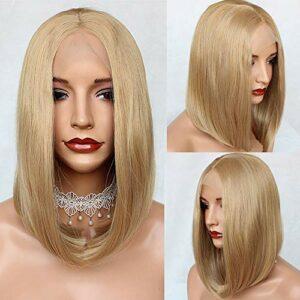 PlatinumHair Perruque de cheveux synthétiques avec dentelle frontale sans colle Brun court Cheveux lace front Perruque Résistant à la chaleur Cheveux Naturels pour femme Beauté 35,6 cm