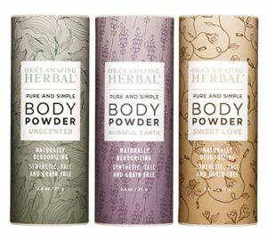 Poudre pour le corps pour homme et femme, cadeau naturel pour femme, poudre parfumée sans talc (lot de 3, 70,9 g chacun)