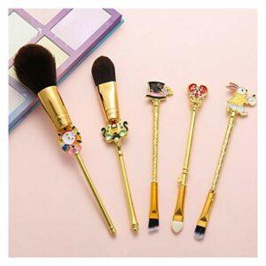 Qsdxlsd Pinceau de Maquillage Maquillage Pinceaux Série Lapin Fard à paupières métalliques Brosses Sourcils Cils Kits Rose Tendre Cheveux 3 Styles (Handle Color : Gold 2)