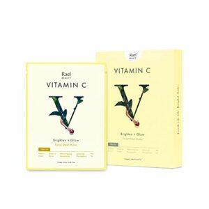 Rael Vita Masque Éclat visage avec vitamine C (5 feuilles): Masque antioxydant pour une peau éclatante, rayonnante et raffinée
