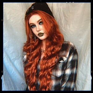 RainaHair 26 pouces Longue Ondulés Synthétique Avant de Lacet Perruque pour Femmes Beauté Cuivre Rouge Lâche Bouclés Perruque pour Partie Résistant À La Chaleur Fiber Cheveux