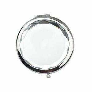 ruirui-home Miroir de maquillage de voyage portatif haut de gamme double face rond pliable en cristal pour femmes et filles (blanc)
