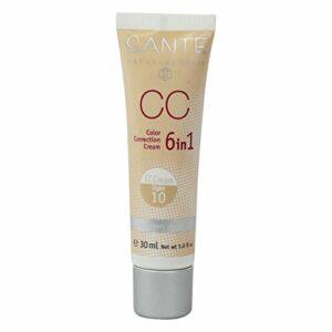 SANTE – CC Cream 6 en 1, Anti-Rides et Raffermissant, Couverture Naturelle, Texture Légère – n. 10 Clair – Végétalienne, Sans Gluten – 30 ml